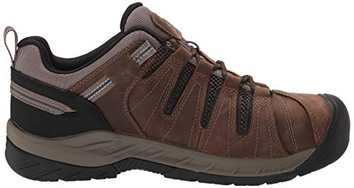 KEEN Utility Men's Flint II Low Steel Toe Waterproof Non Slip Work Shoe Construction Shoe, Cascade Brown/Orion Blue