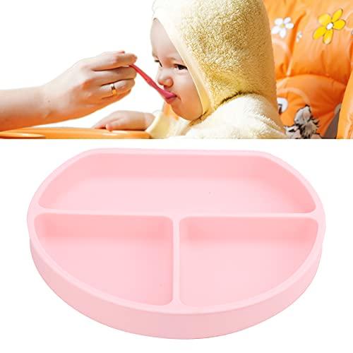 Placas de succión antideslizantes, seguras de usar Platos de plato para bebés Diseño de borde elevado Plato para bebés pequeños para la mayoría de las sillas altas para menores de 6 años(pink)