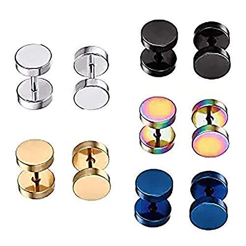 Stainless Steel Mens Womens Stud Earrings Set Ear Piercing Plugs Tunnel Punk Style (1 Set-5 Pairs)