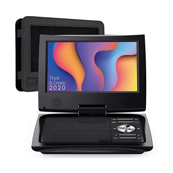 Portable DVD Player for Car with 9.5 Inch HD Swivel Screen, 5 Hours Rechargeable Battery, Dual Earphone Jack, Supports SD Card/USB/CD/DVD, with Extra Headrest Mount Case 3