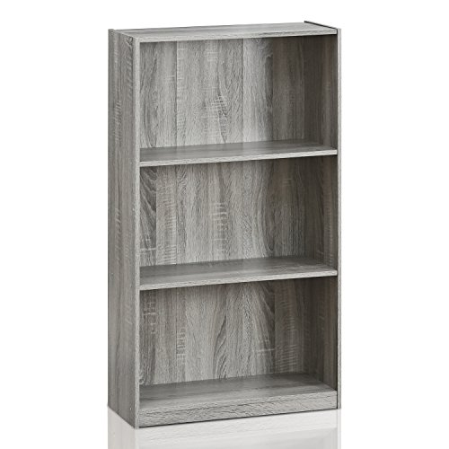 Mejor Furinno Basic 3-Tier Bookcase Storage Shelves, French Oak Grey crítica 2020