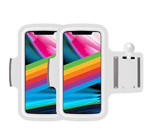 AR-Gun Brazalete Deportivo Pack 2 uds valido para Smartphones de hasta 6.8' Compatible con iPhone 11 Pro MAX XS MAX 11 Samsung Galaxy S20 Plus S10 Plus S9 Plus S8 Plus (Blanco)