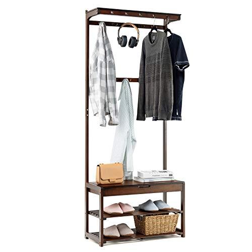 GIANTEX Perchero de pie de bambú con banco, zapatero con 2 estantes de rejilla, 10 ganchos y 5 agujeros, espacio de almacenamiento personalizado, perchero, pasillo, salón, color marrón