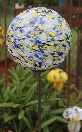 Bornhöft Rosenkugel Gartenstecker Glaskugel Gartendeko Gartendekoration Handarbeit Rankstab Dekoration Beetstecker Topfstecker Blau Gelb Weiß17-2