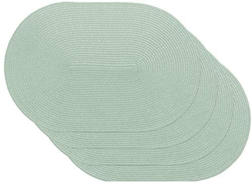 Venilia Tischset 59127-Juego de manteles Individuales ovalados, 30 x 45 cm, 4 Unidades, Color Verde, 45 x 30 cm