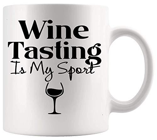 Taza Mug Taza de vino Copa de bebidas La cata de vinos es mi deporte Camiseta divertida no atlética Copas blancas Tazas 330Ml