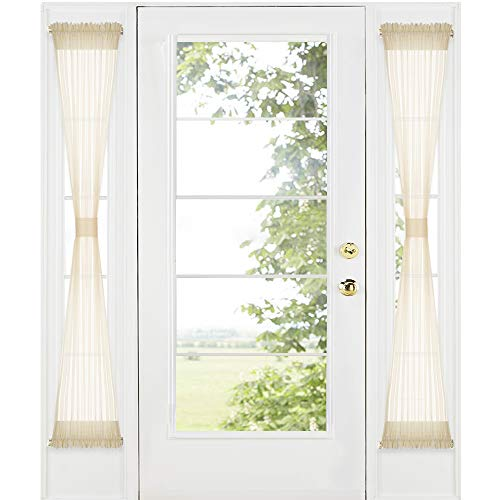 RYB HOME Sidelight Curtains for Front Door - French Door Side Lights Panels Dual Rod Pockets, Privacy Light Filtering Window Decorating, 2 Ropes Included, 1 Pair, 30 x 72, Beige