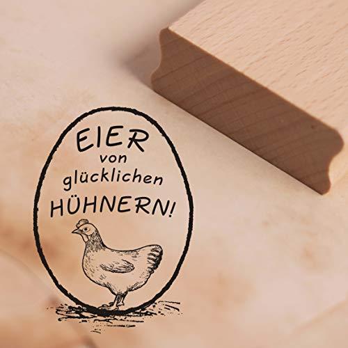 Stempel Eier von glücklichen Hühnern! - Motivstempel Henne ca. 28 x 38 mm