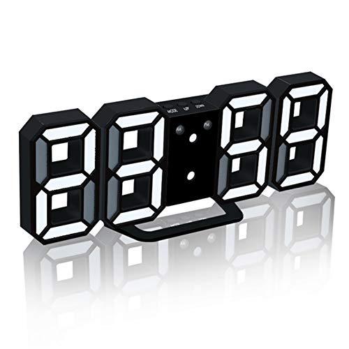 Gofeibao Reloj Despertador Digital Relojes De Mesa Reloj De Pared Tridimensional Reloj Digital 3DLED Regulable Reloj De Pared ElectróNico Inteligente FuncióN De RepeticióN White