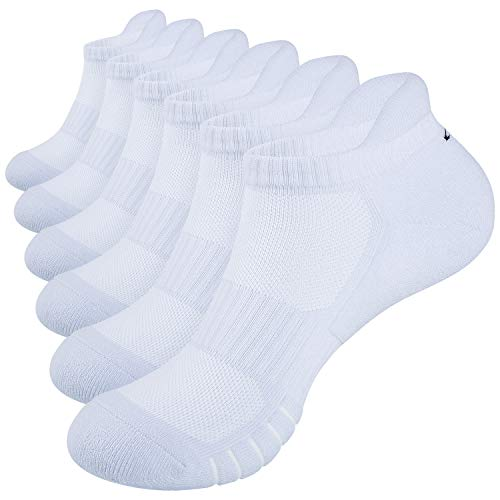 Anqier Running Socks Cushioned Anti Blister Sports Socks No Stink Trainer Socks for Men Women Cotton Ankle Ladies Socks Low Cut Walking Compression Socks (6 Pairs)