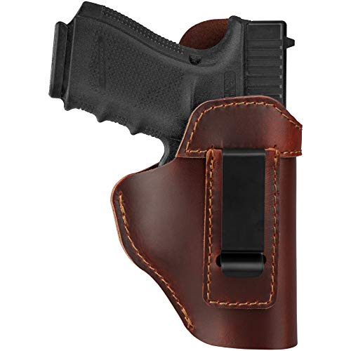 Leather Holster for Concealed Carry, IWB Leather Gun Holsters for Glock 17 19 43X/ Sig P365/ Ruger Security 9/ Springfield Hellcat XDS/ Taurus G2C G3C/ M&P 9mm Shield SD9VE SW9VE & More Pistols, RH