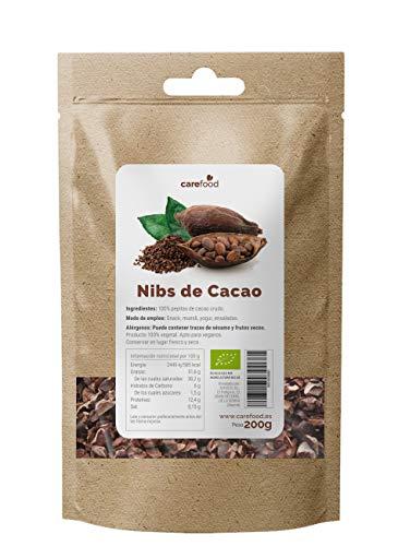 Nibs de Cacao Crudo Ecológico 200 g. Carefood | 100 % Puntas de Cacao Bio del Amazonia Peruana | Natural y Puro | Sin azúcares añadidos