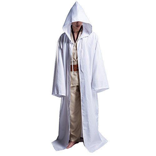 WESTLINK Hooded Robe Cloak Knight Cosplay Costume Cape - New Version - Bigger Cape (Double Cloth) with Strings White