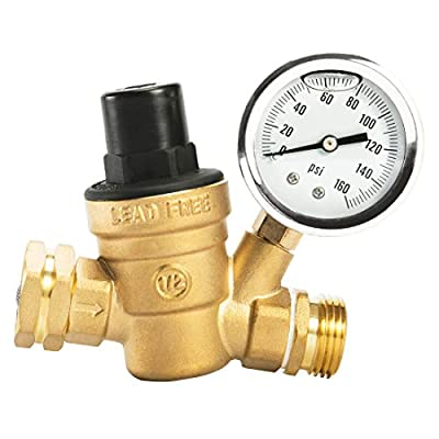 Esright Brass Water Pressure Regulator 3/4 Lead-Free with Gauge for RV Camper Adjustable Water Pressure Regulator,Build-in Oil (NH Threads) from Esright