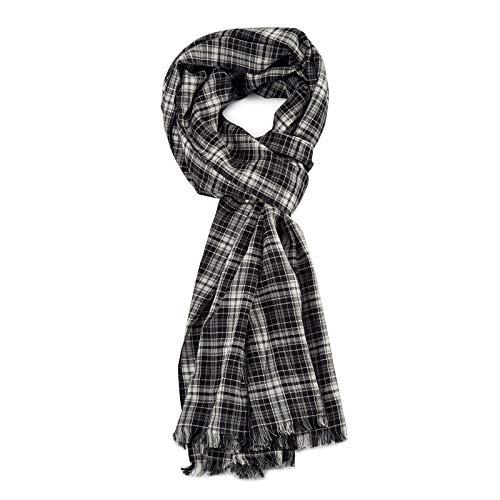 ROYALZ Schal für Herren kariert klassisch 100% Baumwolle Herrenschal weich leicht dünn Karo Muster oder gestreift Halstuch ganzjährig Accessoires mehrfarbig, Farbe:Kariert Grau/Weiß/Schwarz