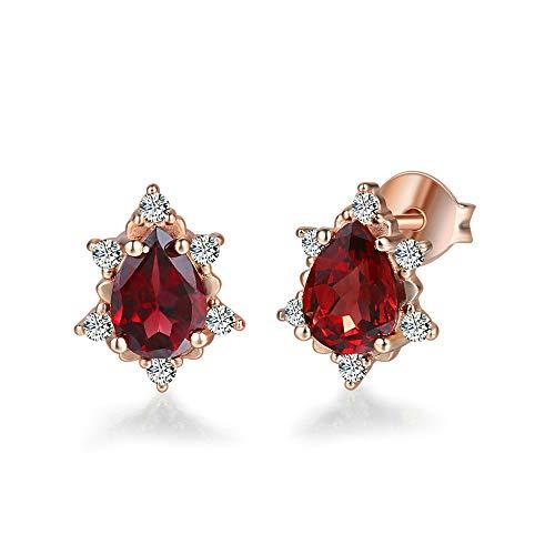 NOBRAND Pendientes De Mujer Pendientes De Plata 925 Pendientes De Piedras Preciosas Granate Joyas Chapadas En Oro Rosa