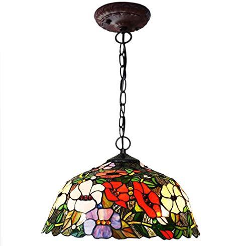 N/Z Home Equipment Colgante de diseño Floral de Estilo de 16 Pulgadas Lámpara Colgante de Techo de vidrieras Rojas Morning Glory con luz de Boom 2 de aleación de Zinc