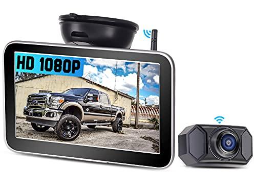 AMTIFO AM-W70 Rückfahrkamera für LKW, PKW, Lieferwagen, Wohnmobile, 7 Zoll HD 1080P Digitale drahtlose Anhängerkupplungs-Rückfahrkamera-Kit mit stabilem Signal, DIY-Leitlinien