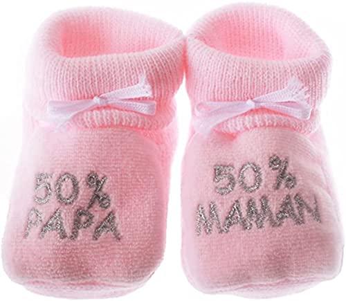 Chaussons bébé brodés '50%papa 50%maman' rose/argent 0/3mois