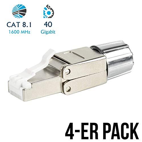 VESVITO 4X RJ45 CAT 8.1 Netzwerkstecker bis zu 40 GBit/s Ethernet, geschirmt, werkzeuglos, kompatibel mit CAT 7A CAT 7 Netzwerkkabel, Crimpstecker Steckverbinder Stecker für Verlegekabel LAN Kabel