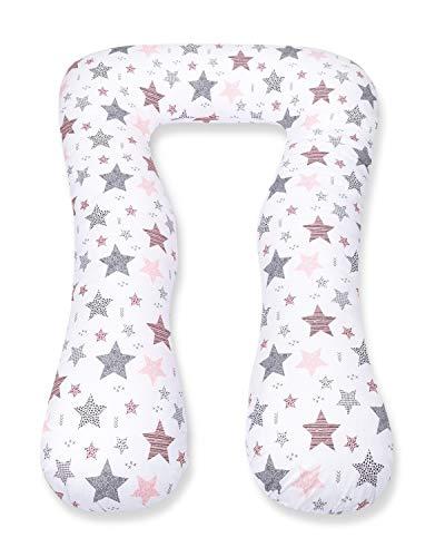 Amilian Schwangerschaftskissen zum Schlafen Lagerungskissen Seitenschläferkissen Ink.Bezug Erwachsene Baby Bed universell groß Sternschnuppe rosa TYP A Pregnancy Pillow bodypillow