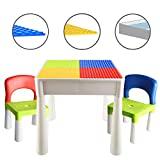 LBLA Kids Activity Table Set 4-in-1 Building Block Table Water Table Craft Table with 2 Chairs for Toddles