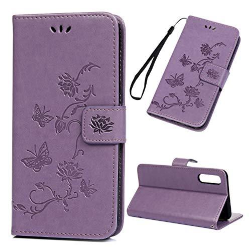 Archi Galaxy A50 Hülle Case Kompatibel mit Samsung Galaxy A50 HandyHülle Lotus Schmetterling Leder Flipcase Schutzhülle Brieftasche Tasche Ständer Magnetverschlusss Kartenfach Handytasche Hellviolett