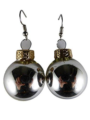 Weihnachtschmuck Ohrringe Weihnachten Schmuck Hänger Christbaumkugel Weihnachtskugel Baumschmuck Glas silber K223