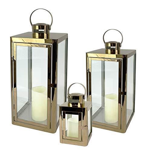 Mojawo Traumhaftes 3er Set Gartenlaterne Edelstahl Goldfarben Windlicht Laternen Set Höhe 22/32/46cm Edel Design