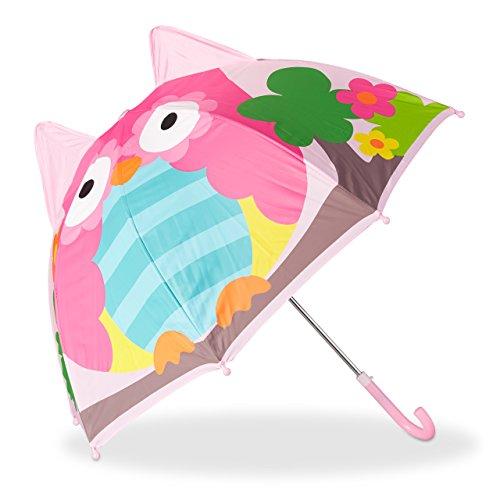 Relaxdays Kinderregenschirm mit 3D Eule, Regenschirm für Mädchen und Jungen, kleiner Stockschirm ab 3 Jahren