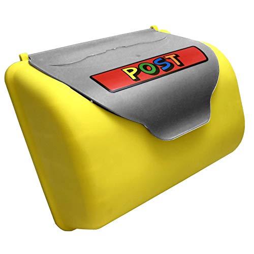 TikTakToo Kinder Briefkasten für Spielturm oder Spielhaus, Kletterturm Zubehör Spielplatz grau gelb