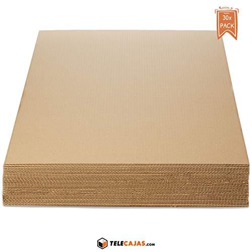 TeleCajas® | Planchas de Cartón Din A1 Ondulado | Medidas: 84,1 x 59,4 cms | Pack de 30 unidades (30x)