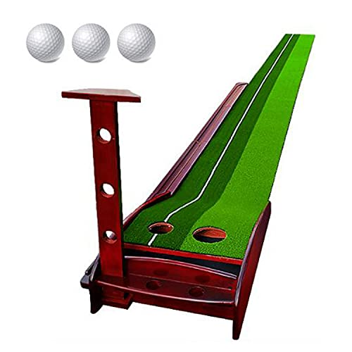 Wooden Golf Putting Green with Automatic Ball Return System, Mini Golf Practice Training Tool, Home, Office, Men's Golf Gift, Indoor and Outdoor Use, with 3 Balls