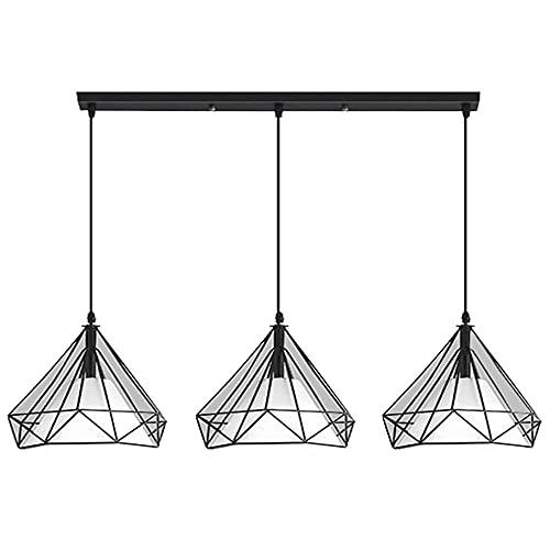 Living Equipment Lámpara colgante Lámpara de araña en forma de diamante, la luz colgante es simple y moderna para sala de estar, dormitorio, comedor, bar, cafetería.Lámpara colgante negra, lámpara