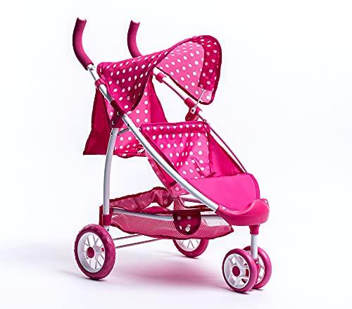 Roma Dotty Tandem Twin Double Dolls Pram - Pink Polka
