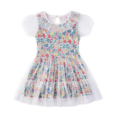 HILEELANG Girl Summer Short Sleeve Casual Dress Cotton Tulle Check Party Dress Toddler to Big Girl 1-12Y