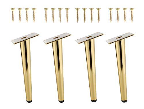 NATGAI 4Pcs 8Inch Golden Furniture Cabinet Metal Legs Round Tapered Leg DIY Furnitur Sofa Table Bed Shoe Cabinet Desk Legs (Bevel Leg(20CM))
