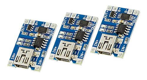 3Stück Mini USB lipo lion Akku Lademodul mit Schutz TP4056 Arduino, Solar charger Raspberry Pi