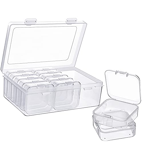 12 Pieces Plastic Storage Cases Mini Clear Plastic Storage Containers Transparent Boxes with Hinged Lid and Rectangle Clear Craft Supply Case (2.12 x 2.12 x 0.79 Inch)
