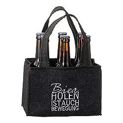 Spetebo Filz Flaschenträger für 6 Flaschen - Bier Holen ist auch Bewegung - Männer Handtasche Flaschentasche Bierträger Flaschenhalter