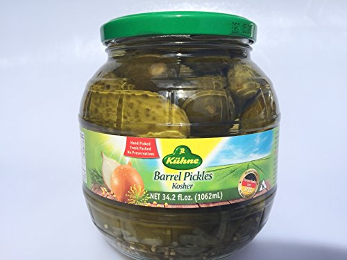 Kuehne (former Gundelsheim) Kosher Pickle in Glas Barrel Jar 1062 ml - 34.2 fl Oz