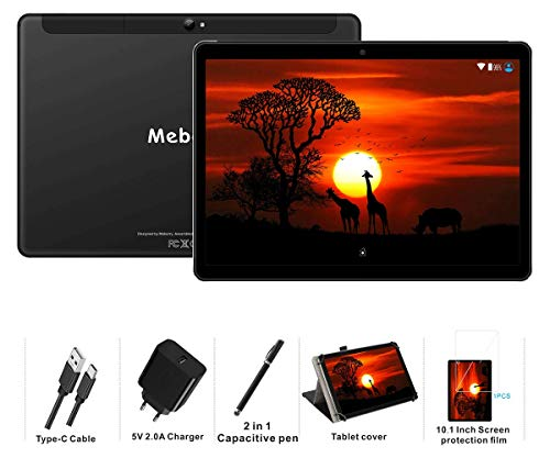 MEBERRY Tablet 10 Pulgadas Android 9 Pie Ultrar-Rápido Tablets 4GB RAM + 64GB ROM - Certificación Google GSM - 4G Dual SIM - 8000mAh |WI-FI|Bluetooth|GPS| Type-C Tablet (5.0+8.0 MP Cámara) - Negro
