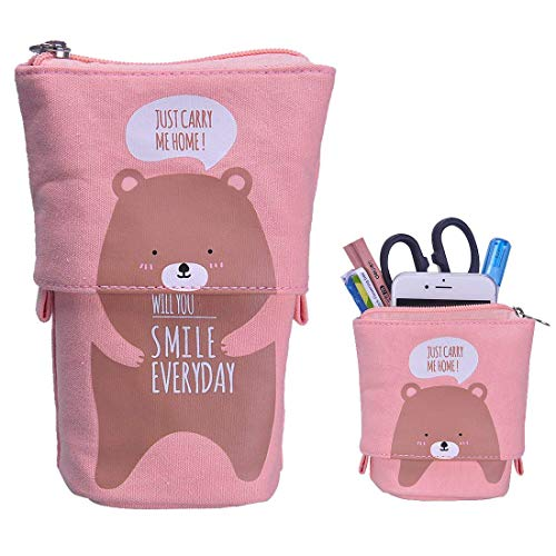 Stand up Pencil Holder Telescopic Pencil Case Transformer Pen Box Cartoon Cute Stationery Pouch Bag Canvas+PU Cosmetics Pouch Stand Store Pen Organizer for Students Boys and Girls (Brown bear)