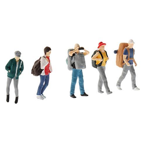 F Fityle Wanderer 1: 64, 5 Figuren, Bergwanderer mit Rucksack für Modellbau und Miniatur-Puppenhaus Dekoration - B.