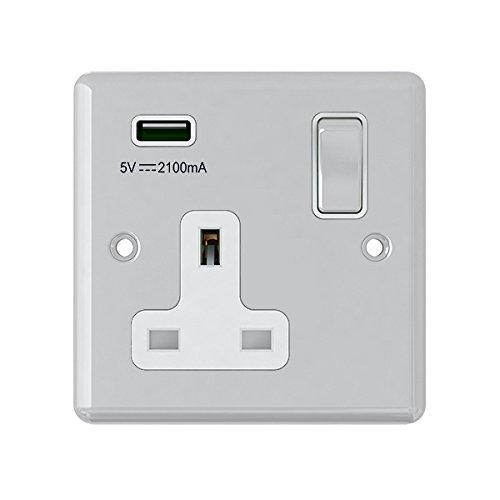 AET usbcpc1gsocwc 13 A 1-versnelling, klassiek gepolijst chroom enkele aansluiting en USB-stopcontact, met witte metalen rocker