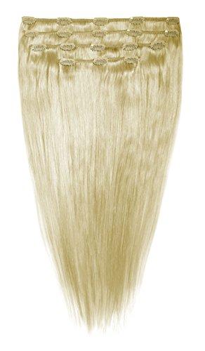 American Dream Lot Tête Complète de Luxueuses Extensions Clip In 100 % Cheveux Humains Couleur 22 Blond Plage