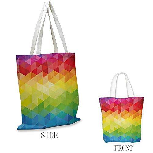 Bolsa de la compra de lona colorida para manualidades, diseño abstracto de origami, colibríes coloridos, edificios y árboles, también se puede cargar con un portátil multicolor