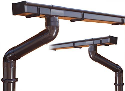 Dachrinnen/Regenrinnen Set   Satteldach (2 Dachseiten)   Kastenrinnen   Kastendachrinnen   BG70   in braun! (Komplettes Set bis 4.50 m)