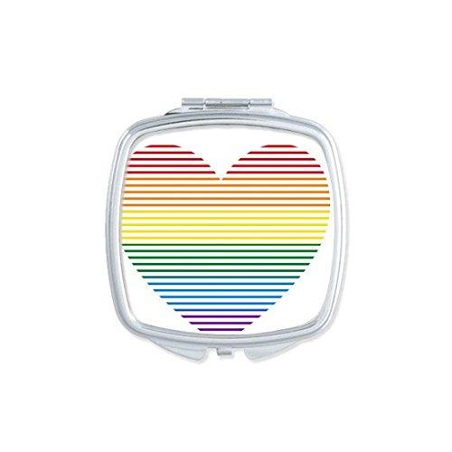 DIYthinker LGBT Tüpfeln Regenbogen Homosexuell Lesben Transgender Bisexuellen Unterstützung Gezeichnet Herz Illustration Platz Compact Make-up Taschenspiegel Tragbare Nette kleine Handspiegel