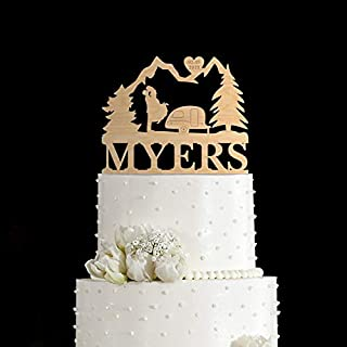 Mountain wedding cake topper,Happy camper cake topper,camper trailer cake topper,Camping cake topper,Adventure Awaits cake topper,150